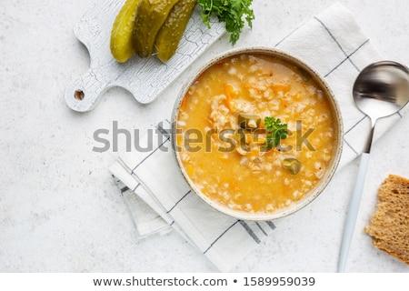 Barley soup, pearl barley in white bowl Stock photo © joannawnuk