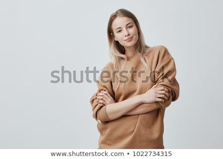 Entspannt schöne Frau lange fairen Haar Stock foto © vkstudio