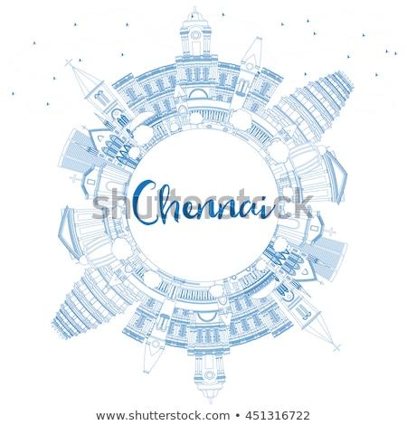 Outline Chennai Skyline with Blue Landmarks and Copy Space.  Stock photo © ShustrikS