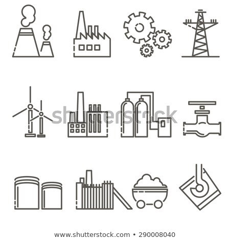 windmill factory icon vector outline illustration Stock photo © pikepicture