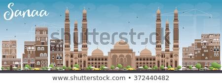 Iémen linha do horizonte marrom edifícios blue sky Foto stock © ShustrikS