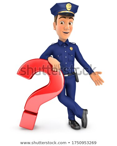 3d policeman leaning against question mark Stock photo © 3dmask