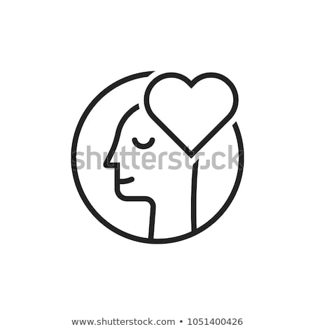 Heart Love Symbol In Man Silhouette Mind Vector Stock photo © pikepicture