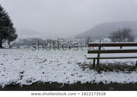 Stock photo: atlantic winter bench views