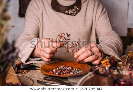 Csecsebecsék absztrakt klasszikus fonal gyöngyök lánc Stock fotó © vrvalerian