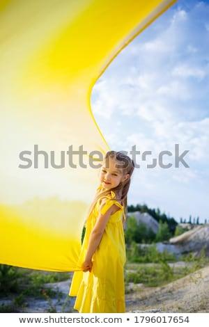 nina · amarillo · vestido · aislado · blanco · mujeres - foto stock © zybr78