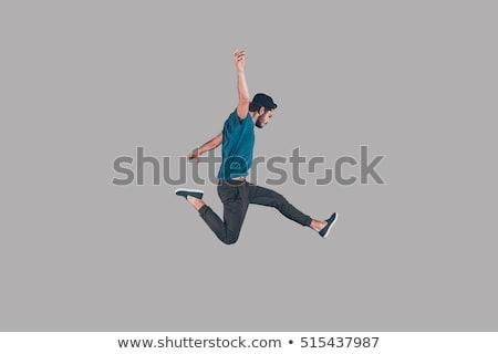 бизнесмен · прыжки · студию · полный · белый - Сток-фото © kokimk