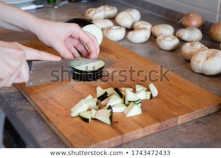 padlizsán · friss · organikus · rusztikus · konyhaasztal · asztal - stock fotó © fisher