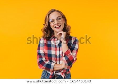 kız · gözlük · kaya · moda · kadın - stok fotoğraf © gaudiums