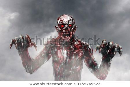 Foto stock: Zumbi · sangrento · mãos · primeiro · pessoa