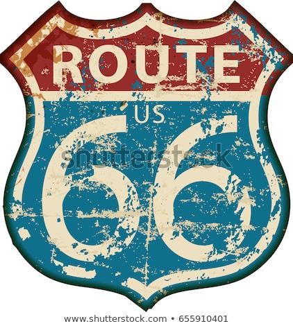 Autoroute panneau routier route 66 isolé blanche fond Photo stock © HectorSnchz