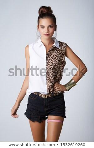 Kouseband gordel klassiek zwarte kousen foto Stockfoto © dolgachov