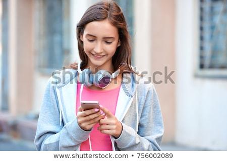 cute · nino · hablar · teléfono · celular · aislado · blanco - foto stock © 2tun