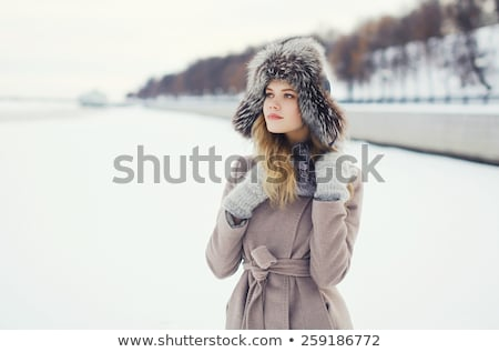 Stylish woman in winter fur jacket Stock photo © Discovod
