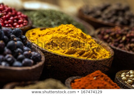Fűszer közelkép föld bors curry levelek Stock fotó © MKucova