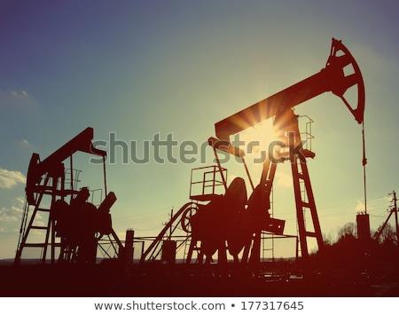 два рабочих нефть Vintage ретро-стиле силуэта Сток-фото © Mikko