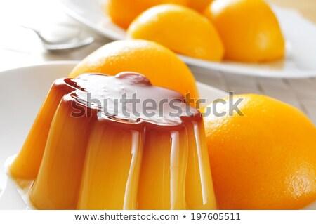 персика сироп белый фон десерта Сток-фото © nito