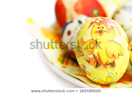 Easter egg decorated with flowers made by decoupage technique on light background Stock photo © guyCalledSale