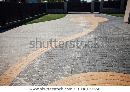 Bruk płytek brązowy miejskich chodniku tekstury Zdjęcia stock © stevanovicigor