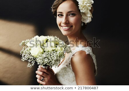 inocente · novia · primer · plano · encantador · flor - foto stock © nejron