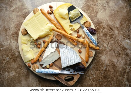 french gourmet snack foods mixed platter on wooden table Stock photo © travelphotography