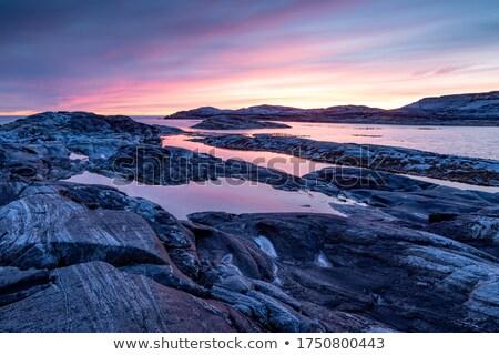 岩 海岸 海 雪 冬 石 ストックフォト © bmonteny