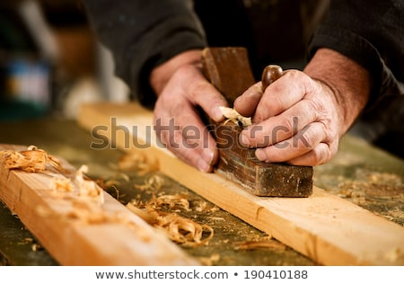 Handheld wood plane with wood shavings Stock photo © juniart