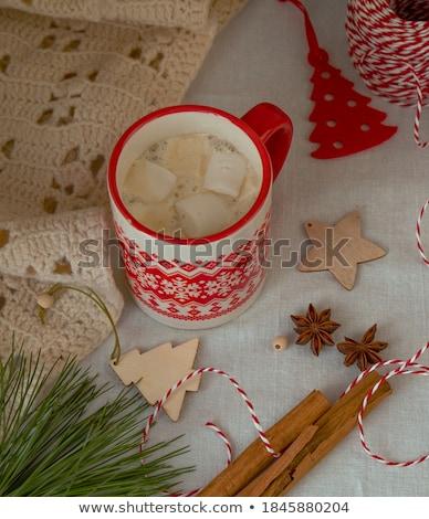 Chocolade houten tafel specerijen kaneel anijs naast Stockfoto © justinb