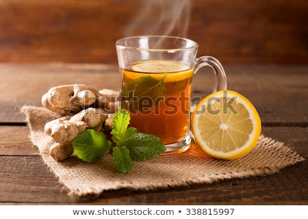 カップ 茶 生姜 ルート 緑 木製 ストックフォト © nikolaydonetsk