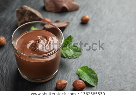 Chocolade pudding beker pure chocola cookie voedsel Stockfoto © MSPhotographic