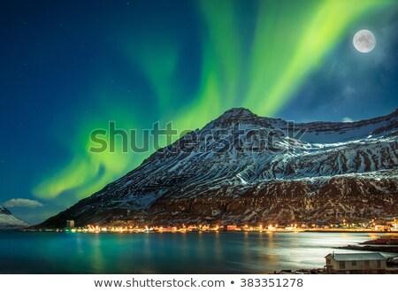 seydisfjordur iceland at night stock photo © alexeys