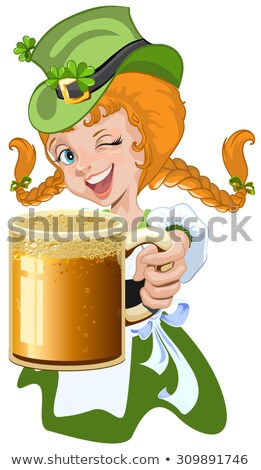 Red haired girl leprechaun holding a glass beer mug Stock photo © orensila