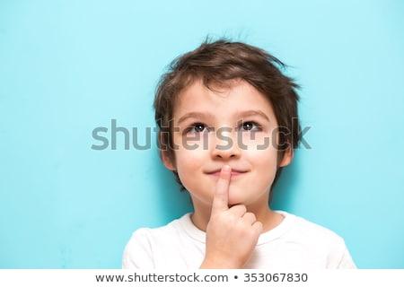 Bebek erkek düşünme sevimli yatay Stok fotoğraf © imagedb