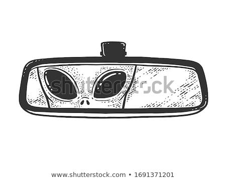 автомобилей · вид · сзади · зеркало · пейзаж · стране - Сток-фото © bigalbaloo