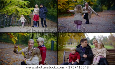 Stock photo: married couple and little girl in park in autumn