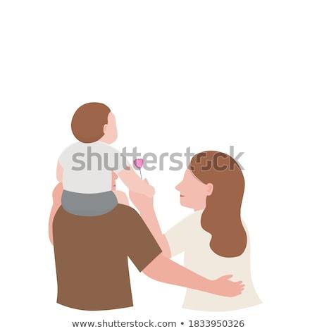 Vector of girl enjoying piggyback ride on mother's back. Stock photo © Morphart