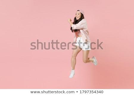 Atlamak yukarı tenis eğitim Stok fotoğraf © filipw