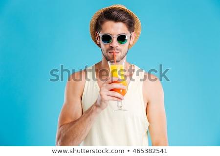 Homem potável coquetel asiático leite de coco vetor Foto stock © RAStudio