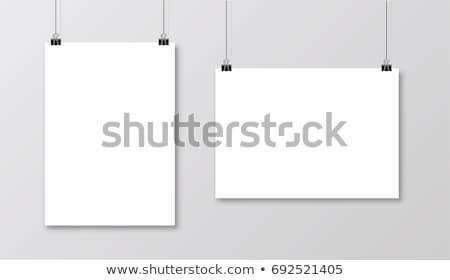 vector · opknoping · poster · witte · paperclip - stockfoto © anna_leni