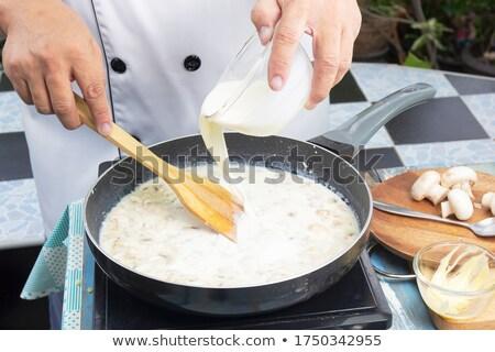 Crème spatule blanche bois alimentaire fraîches Photo stock © Digifoodstock
