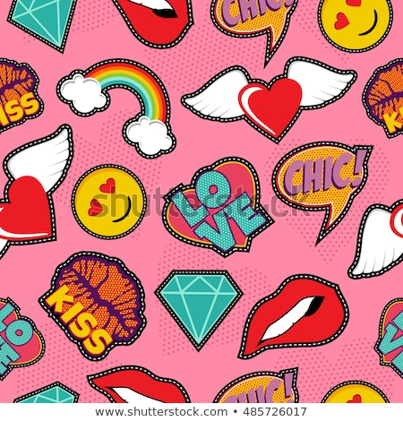Seamless pattern with lipstick kiss stitch patches Stock photo © cienpies