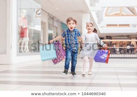 Fiú pénz lány bevásárlószatyor illusztráció férfi Stock fotó © bluering