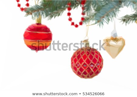 Red Christmas Baubles Red Ribbons Golden Lowpoly Tree Stock photo © limbi007