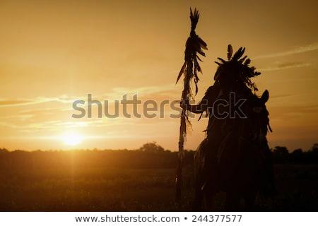 Stock fotó: őslakos · amerikai · indián · illusztráció · természet · férfiak · sziluett