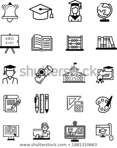 Tábla sablon fiú számológép illusztráció gyermek Stock fotó © bluering