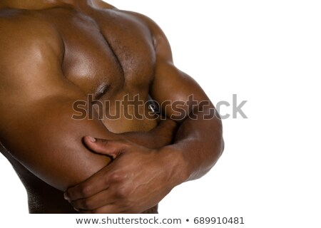 Mid section of shirtless sportsman with arms crossed Stock photo © wavebreak_media