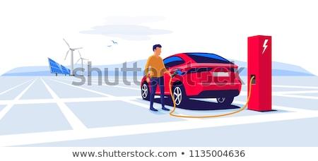 Foto stock: Hombre · cable · coche · eléctrico · negocios · empresario