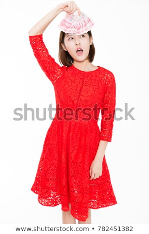 Beautiful Young Red Haired Woman With Wadding Studio Shot Stock fotó © wxin