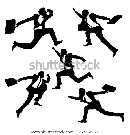 Jumping Silhouette Businessman Stock photo © Krisdog