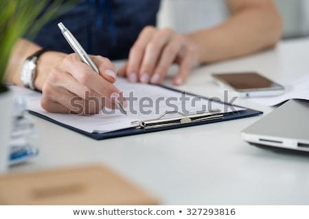 女性実業家 署名 論文 書く ノート 中小企業 ストックフォト © stevanovicigor